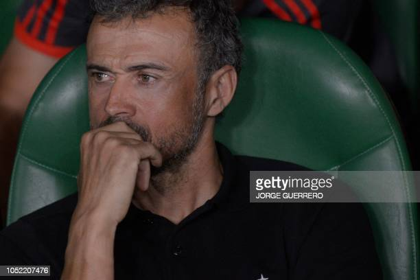 Spain's coach Luis Enrique looks on during the UEFA Nations League football match between Spain and England on October 15 2018 at the Benito...