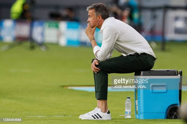 Spain's coach Luis Enrique sits during the UEFA EURO 2020 Group E football match between Spain and Sweden at La Cartuja Stadium in Sevilla on June...