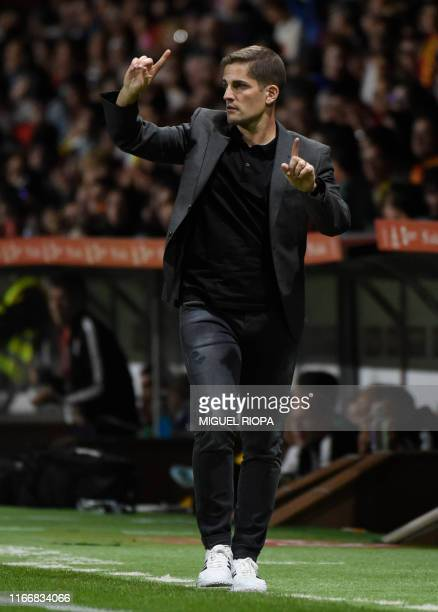 Spain's coach Robert Moreno gestures from the sideline during the UEFA Euro 2020 qualifier group F football match between Spain and Faroe Islands at...