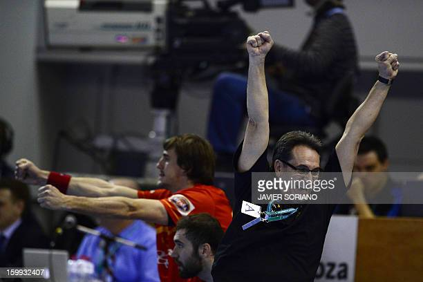 Spain's coach Valero Rivera celebrates a goal during the 23rd Men's Handball World Championships quarterfinal match Spain vs Germany at the Pabellon...