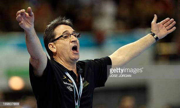Spain's coach Valero Rivera reacts during the 23rd Men's Handball World Championships round of 16 match Serbia vs Spain at the Pabellon Principe...