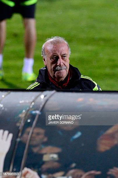 Spain's coach Vicente del Bosque attends a training session at the Sport City ground in Las Rozas near Madrid on November 14 in preparation for the...