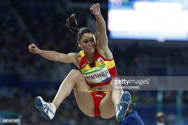 Spain's Concepcion Montaner competes in the Women's Long Jump Qualifying Round during the athletics event at the Rio 2016 Olympic Games at the...