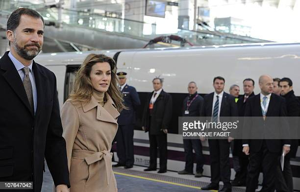 Spain's crown Prince Felipe and his wife Letizia arrive at the train station of Atocha of Madrid on December 15 2010 prior to inaugurate the Spanish...