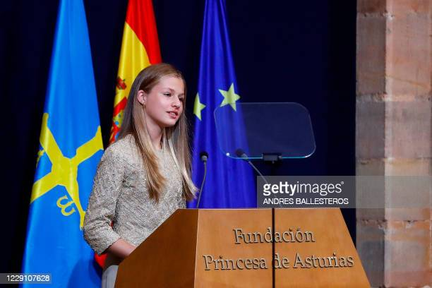 Spain's Crown Princess Leonor delivers a speech during the 2020 Princess of Asturias award ceremony at the Reconquinta Hotel in Oviedo on October 16,...