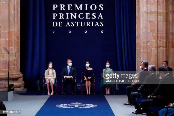 Spain's Crown Princess Leonor, King Felipe VI, Queen Letizia and Princess Sofia attend the 2020 Princess of Asturias award ceremony at the...