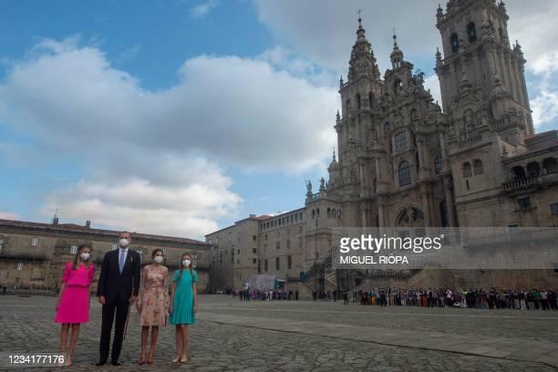 Spain's Crown Princess Leonor, King Felipe VI, Queen Letizia and Princess Sofia arrive to the Cathedral of Santiago de Compostela at Obradoiro Square...