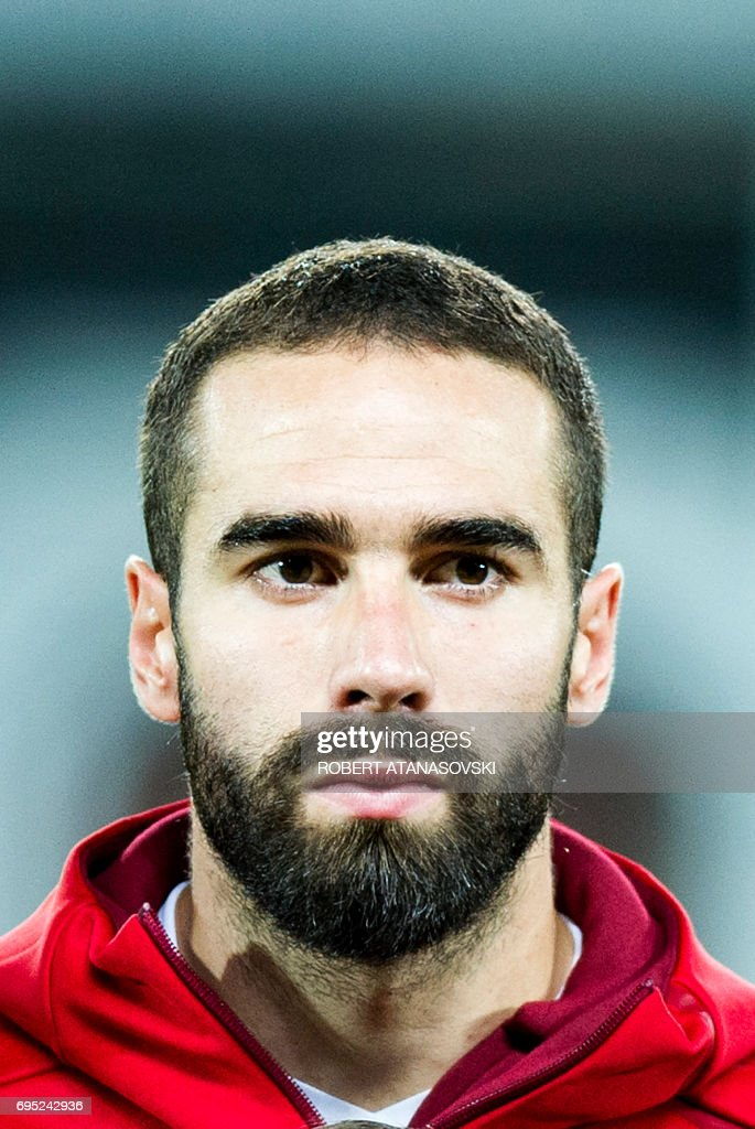 Spain's Dani Carvajal looks on prior to the FIFA World Cup 2018 qualifying football match betyween Macedonia and Spain at Philip II of Macedon stadium in Skopje on June 11, 2017. / AFP PHOTO / Robert ATANASOVSKI