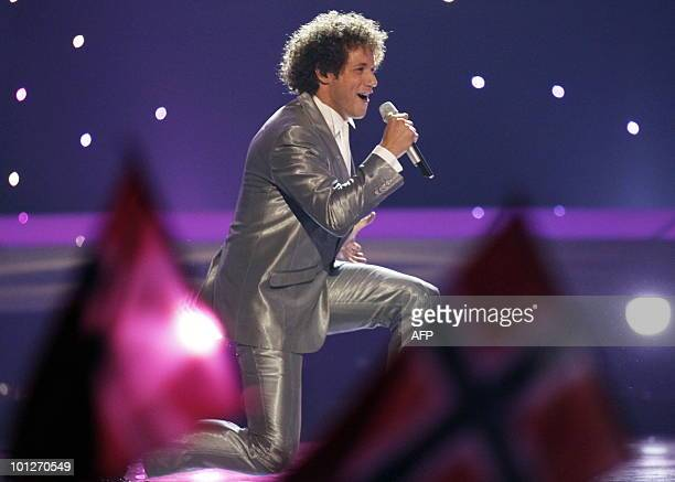 Spain's Daniel Diges performs his song Algo Pequeñito during the Eurovision Song Contest 2010 final at the Telenor Arena in Baerum near Oslo Norway...
