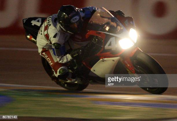 Spain's Daniel Ribalta rides his Yamaha N4 during the 31th edition of the Le Mans 24 hours endurance race in Le Mans western France on April 19 2008...