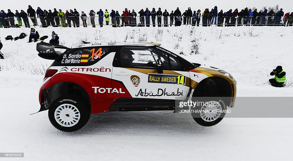 Spain's Daniel Sordo and his co-driver Carlos Del Barrio steer their Citroen DS3 WRC during the 19th Rally Sweden, second round of the FIA World Rally Championship on February 10, 2013 in Kirkenaer, Norway.