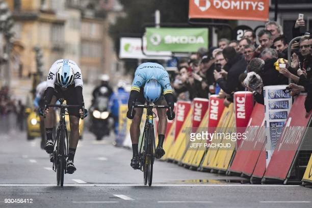TOPSHOT Spain's David De La Cruz and Spain's Omar Fraile sprint towards the finish line at the end of the 110 km eighth and last stage of the 76th...