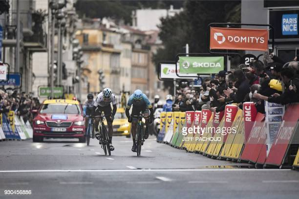Spain's David De La Cruz and Spain's Omar Fraile sprint towards the finish line at the end of the 110 km eighth and last stage of the 76th edition of...