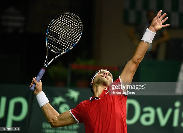 Spain's David Ferrer in action against India's Ramkumar Ramanathan during Davis Cup Match between India and Spain at DLTA on September 18 2016 in New...