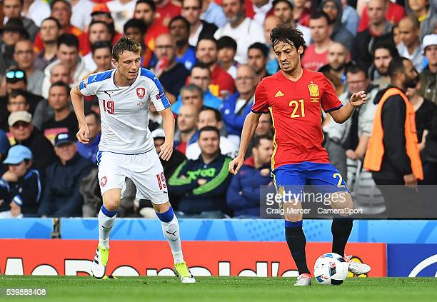 Spain's David Silva under pressure from Czech Republic's Josef Sural during the UEFA Euro 2016 Group E match between Republic of Ireland and Sweden...