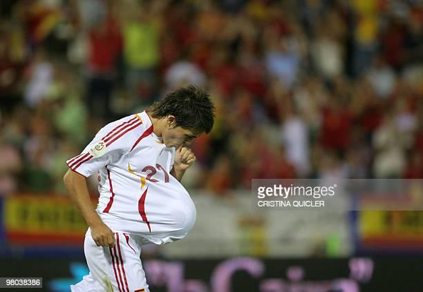 Spain's David Villa celebrates after scoring against Liechtenstein during a Euro2008 qualifying match at the Nuevo Vivero stadium in Badajoz, 02...