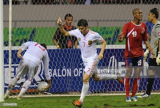 Spain's David Villa celebrates his goal against Costa Rica during a friendly match at the National Stadium in San Jose on November 15 2011 AFP...