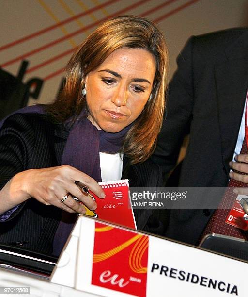 Spain's Defence Minister Carme Chacon is pictured before the third plenary session of the Informal Meeting of Defence Ministers on February 25 2010...
