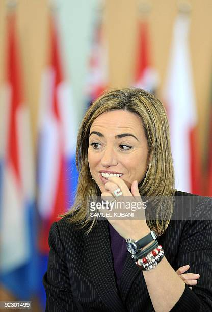Spain's Defence Minister Carme Chacon Piqueras looks on during the International Security Assistance Force working lunch at an informal meeting of...
