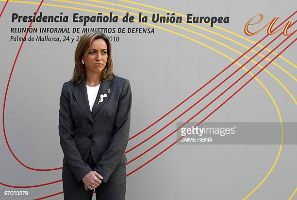 Spain's Defence Minister Carme Chacon waits during the Informal Meeting of Defence Minister on February 24 2010 in Palma de Mallorca The Informal...