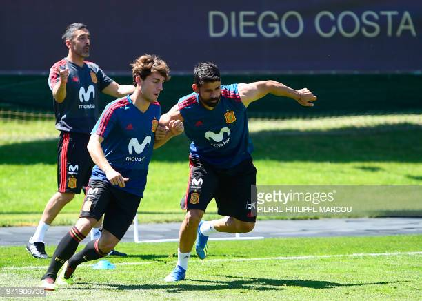 Spain's defender Alvaro Odriozola and Spain's forward Diego Costa attend a training session in Krasnodar Academy on June 12 ahead of the Russia 2018...