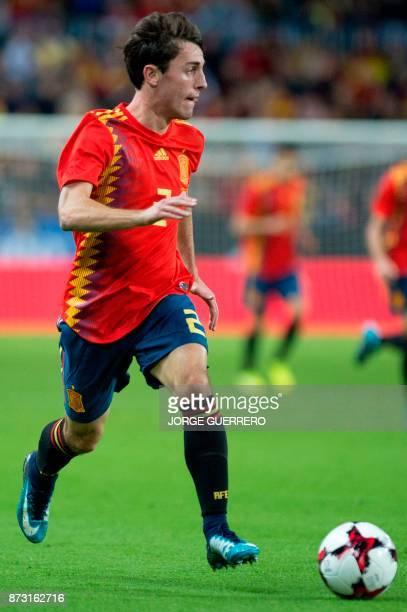 Spain's defender Alvaro Odriozola controls the ball during the FIFA WC2018 friendly football match Spain against Costa Rica at La Rosaleda stadium in...