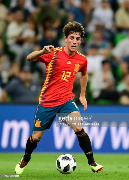 Spain's defender Alvaro Odriozola controls the ball during the friendly football match between Spain and Tunisia at Krasnodar's stadium on June 9 2018