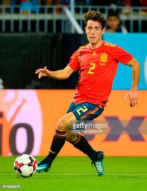Spain's defender Alvaro Odriozola controls the ball during the international friendly football match Spain against Costa Rica at La Rosaleda stadium...