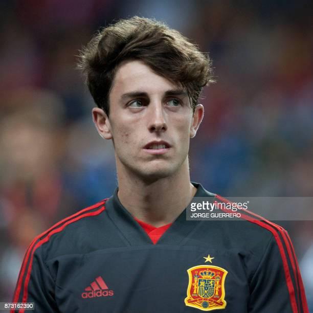 Spain's defender Alvaro Odriozola poses before the international friendly football match Spain against Costa Rica at La Rosaleda stadium in Malaga on...
