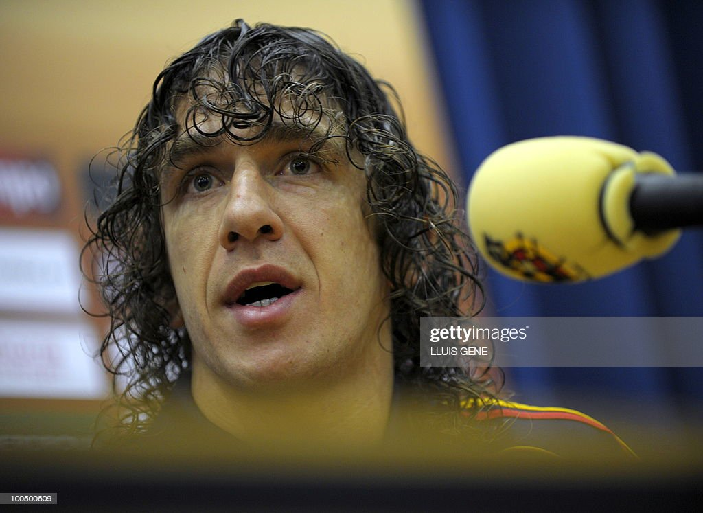 Spain's defender Carles Puyol gives a press conference after the training session of the Spanish football team on May 25, 2010, at the Sports City of Las Rozas, near Madrid. Spain, among the favourites for the World Cup, which runs from June 11-July 11, face Switzerland, Honduras and Chile in Group H of the opening round.