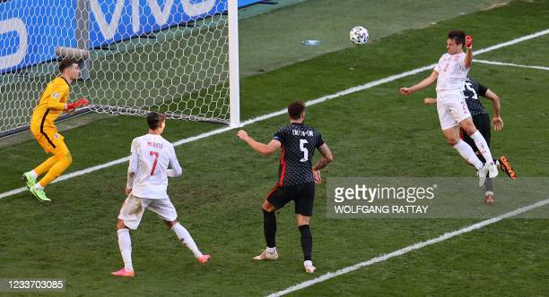 Spain's defender Cesar Azpilicueta scores his team's second goal during the UEFA EURO 2020 round of 16 football match between Croatia and Spain at...