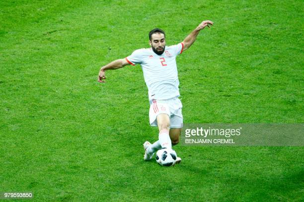 Spain's defender Dani Carvajal controls the ball during the Russia 2018 World Cup Group B football match between Iran and Spain at the Kazan Arena in...