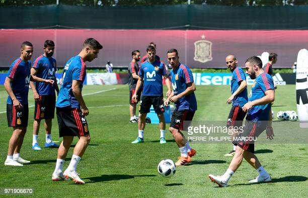 Spain's defender Dani Carvajal kicks the ball during a training session in Krasnodar Academy on June 12 ahead of the Russia 2018 World Cup football...