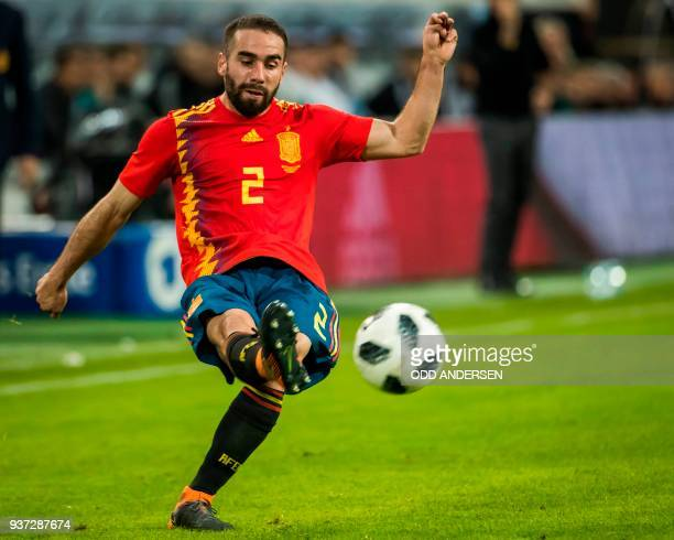 Spain's defender Dani Carvajal plays a pass during the international friendly football match of Germany vs Spain in Duesseldorf western Germany on...
