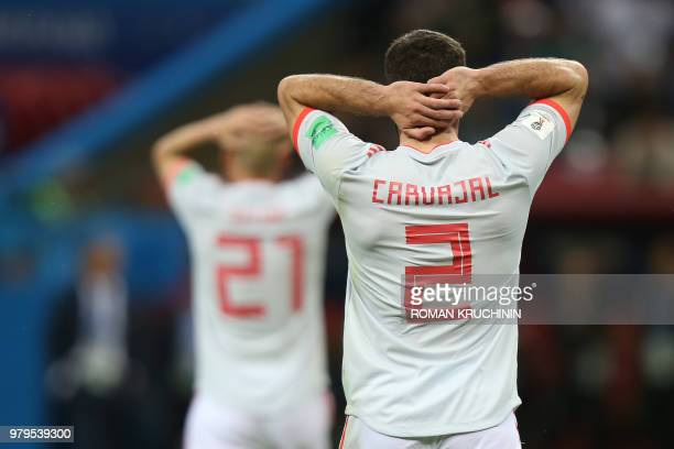 Spain's defender Dani Carvajal reacts during the Russia 2018 World Cup Group B football match between Iran and Spain at the Kazan Arena in Kazan on...