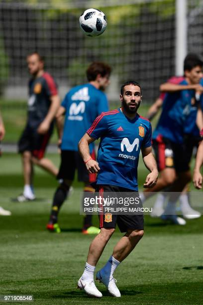 Spain's defender Dani Carvajal takes part in a training session at Krasnodar Academy on June 12 ahead of the Russia 2018 World Cup football tournament