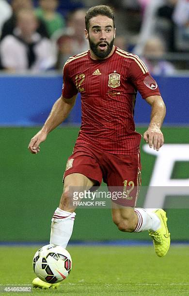 Spain's defender Daniel Carvajal controls the ball during the friendly football match France vs Spain on September 4 2014 at the Stade de France in...