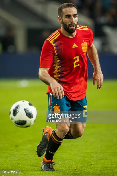 Spain's defender Daniel Carvajal controls the ball during the international friendly football match of Germany vs Spain in Duesseldorf western...