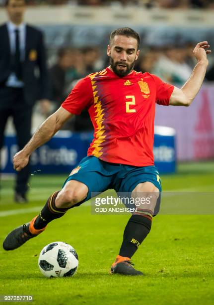 Spain's defender Daniel Carvajal plays a pass during the international friendly football match of Germany vs Spain in Duesseldorf western Germany on...