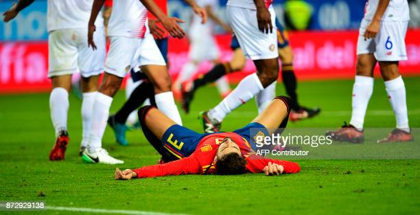 Spain's defender Gerard Pique during the international friendly football match Spain against Costa Rica at La Rosaleda stadium in Malaga on November...