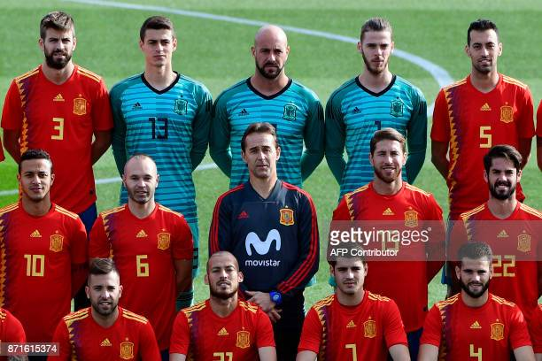 Spain's defender Gerard Pique Spain's goalkeeper Kepa Arrizabalaga Spain's goalkeeper Pepe Reina de Spain's goalkeeper David de Gea Spain's...
