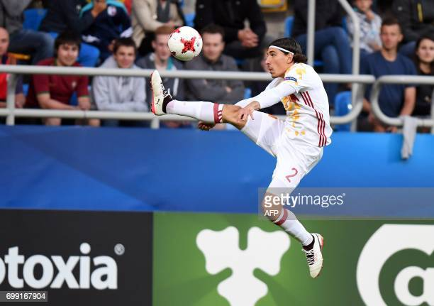 Spain's defender Hector Bellerin Moruno in action during the UEFA U21 European Championship Group B football match Spain v Portugal in Gdynia on June...