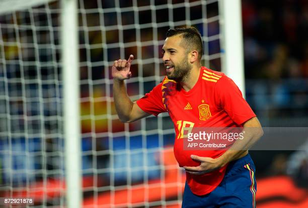 Spain's defender Jordi Alba celebrates after scoring a goal during the international friendly football match Spain against Costa Rica at La Rosaleda...
