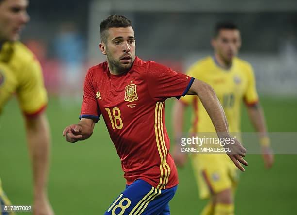 Spain's defender Jordi Alba is pictured during the friendly football match between Romania and Spain in Cluj Napoca Romania on March 27 2016 / AFP /...