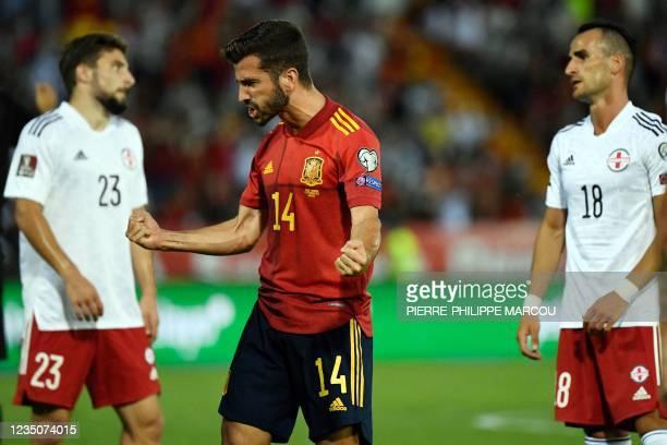 Spain's defender Jose Luis Gaya Pena celebrates scoring the opening goal during the FIFA World Cup Qatar 2022 European qualifying round group B...