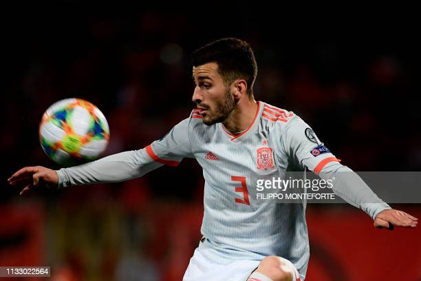 Spain's defender Jose Luis Gaya Pena controls the ball during the Euro 2020 Group F qualifying football match Malta vs Spain on March 26 2019 at the...