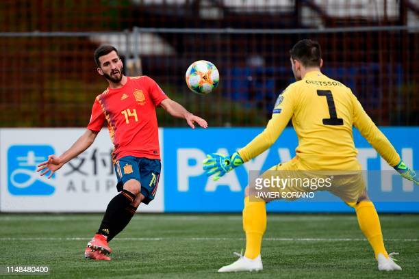 Spain's defender Jose Luis Gaya scores against Faroe Islands' goalkeeper Teitus Gestsson during the UEFA Euro 2020 group F qualifying football match...