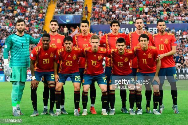 Spain's defender Junior Firpo Spain's midfielder Pablo Fornals Spain's forward Dani Olmo Spain's defender Martin Aguirregabiria and Spain's...
