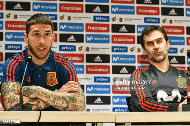 Spain's defender Sergio Ramos and Spain's headcoach Julen Lopetegui attend a press conference of Spain on the eve of their international friendly...