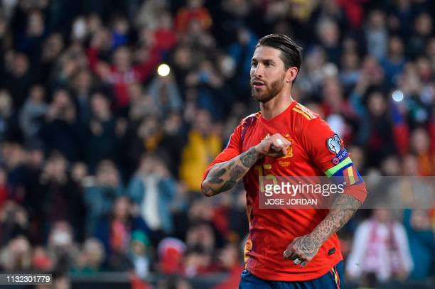 Spain's defender Sergio Ramos celebrates after scoring a goal during the Euro 2020 group F qualifying football match between Spain and Norway at the...